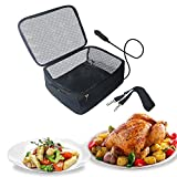 Portable Oven 12V Portable Food Warmer Electric Heated Lunch Box Personal Car Food Warmer for Prepared Meals Reheating & Raw Food Cooking in Office, For trunker, traveling/Picnic/Camping(Black)