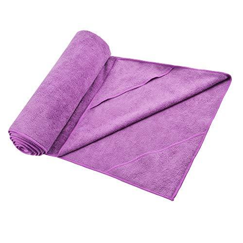 Yoassi Microfibra Asciugamano da Yoga Antiscivolo Asciugamano Yoga Igienico per Tappetino Super Assorbente Panno Antiscivolo per Fitness, Ginnastica, Meditazione e Yoga, 183 x 61 cm