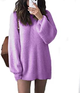 Fashion Women Solid O Neck Loose Knitted Warm Loose Jumper Elegant Soft Long Sleeve Cute Sweater Purple