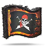 Small Pirate Flag Pinata for Kid's Birthday Party, Cinco de Mayo (12 x 15.7 x 3 In)