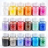 DANLINI 18 Colores Mica en Polvo Resina epoxi Color Pigmento Tinte Set Polvo de Mica de Grado cosmético para Brillo de Labios Fabricación de jabón Bomba de baño Tinte de Resina epoxi en Polvo