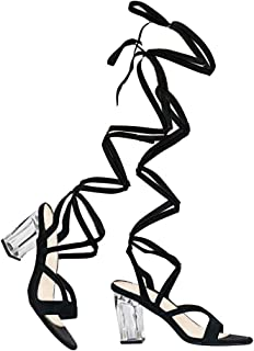 Clear High Heel Lace up Sandal - Trendy Knee High Tie up Shoe - Sexy Comfortable Pump - Strut by