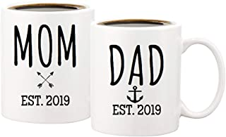 Baby Announcement - Pregnancy Announcement for Boy or Girl - Coffee Mug Set 11 Ounce - New Parents To Be - Mom Mug and Dad Mug Est. 2019 - Birth Announcement - Baby Shower