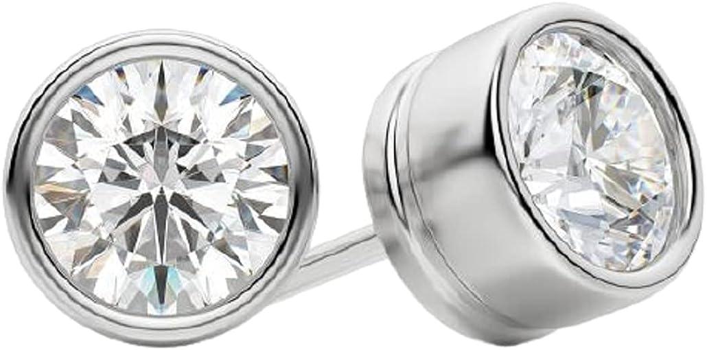 2 CT Round Cubic Zirconia Louisville-Jefferson Direct stock discount County Mall Solitaire Set Bezel Stud 14k Earrings