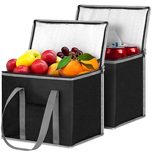 WiseLife Insulated Reusable Shopping Bags Grocery Bags [2 Pack] with Handles,Heavy Duty Produce Bags Food Delivery Bags Cooler Bags w/Zippered Top for Groceries,Food Transport,Travel,Picnic,Camping-GY