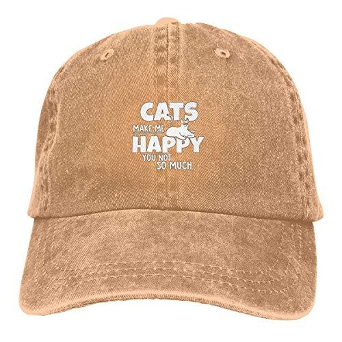 LENGDANU Gorra de béisbol para hombre y mujer, gorra de camionero de mezclilla con diseño de gatos Make Me Happy You Not So Much ajustable seis paneles casqueta para papá y mamá