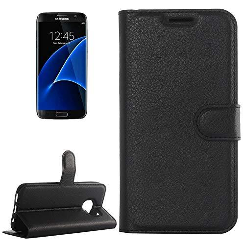 ZAORUN Cubiertas Protectoras de Cellphone Compatible para Samsung Galaxy S7 Edge / G935 Funda de Cuero de Textura de Litchi de FlipHorizontal con Soporte yRanurade Tarjetas y Billetera