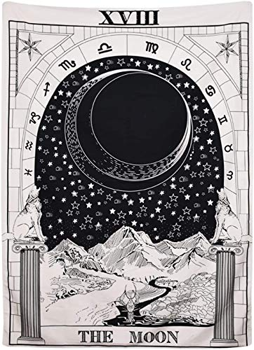 Black Moon Tarot Tapestry, The Moon The Star The Sun Tapestry Wall Hanging Medieval Europe Divination White and Black Wall Decor Large