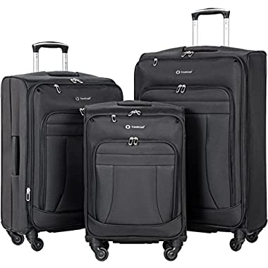 Flieks 3 Piece Luggage Set Softshell Deluxe Expandable Spinner Suitcase (Black)