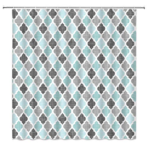Geometric Quatrefoil Shower Curtain Teal Gray Turquoise Blue Vintage Farmhouse Moroccan Tile Pattern Heavy Textured Modern Art Home Bathroom Fabric Decor Curtain ,70 Inch with Hooks