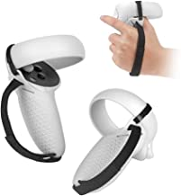 SIMUMU Upgraded Touch Controller Grip Cover & Knuckle Strap for Oculus Quest 2, Adjustable Wrist Knuckle Strap (Gray-B)