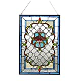 Makenier Vintage Art Nouveau Tiffany Style Stained Glass Frosted Glass Window Hanging Window Panel Widnow Pane Window Wall Decor Decoration