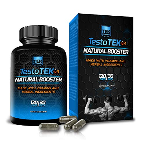 TestoTEK ™ v3.0 #1 Rated All Natural Testosterone Booster - 30 Day Supply - Strength, Energy, Stamina and More 120 Capsules
