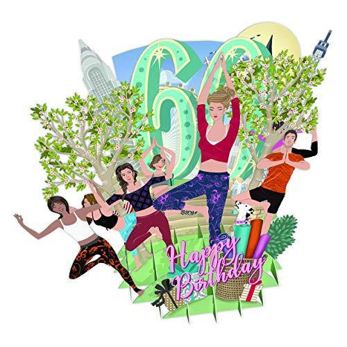 Gelukkige Verjaardag 60 Vandaag Yoga Top van De Wereld 3D Pop-Up Groeten Card
