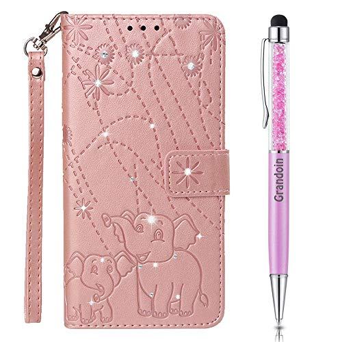Preisvergleich Produktbild Grandoin Hülle für Xiaomi Redmi 6 / Xiaomi Redmi 6A, [Elefanten-Serie] Bling Glitzer Glitter Handyhülle im Brieftasche-Stil Handytasche PU Leder Flip Cover Case Schutzhülle Etui (Rosa)