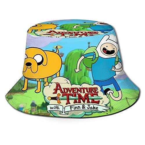 Sombrero del Pescador Adventure Time with Finn and Jake Sombrero de Pescador de Playa Unisex Verano Protección UV Viaje Playa Sombrero de Sol Plegable