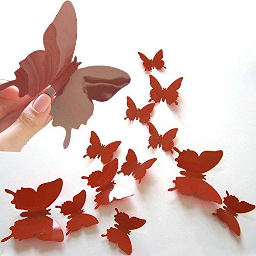 DP Design® Lot de 12 papillons autocollants Marron en PVC effet 3D Mural Armoire Miroir Décoration Maison Marron
