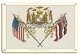 Pacifica Island Art Escudo de Armas Real Hawaiano - La Vida de la Tierra se perpetúa en Justicia - Ilustracion c.1902 - Letrero de Madera 20x30cm