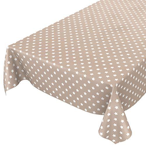 Anro - Mantel de hule lavable, 95% PVC, 5% poliéster., estrellas beige, 100 x 140cm Schnittkante