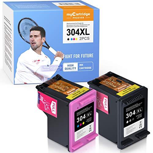 MyCartridge PHOEVER Cartuchos de tinta remanufacturados compatibles con HP 304 304XL para HP DeskJet 2620 2630 3720 3730 3735 HP Envy 5020 5030 5032 (negro/color)