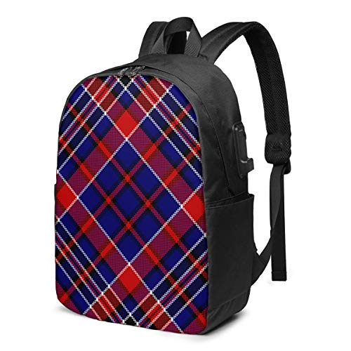 Blue Red Diagonal Check Square Pixel Travel School Backpack with USB Charging Port 17 Inch Doctor Work Bag for Women&Men College Students