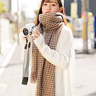 Winter Long Scarf Autumn and Winter Warm Collar Wild Scarf Female Literary Forest Long Section Small Plaid Big Shawl (Color : Yellow) Winter Soft Scarf (Color : Khaki)
