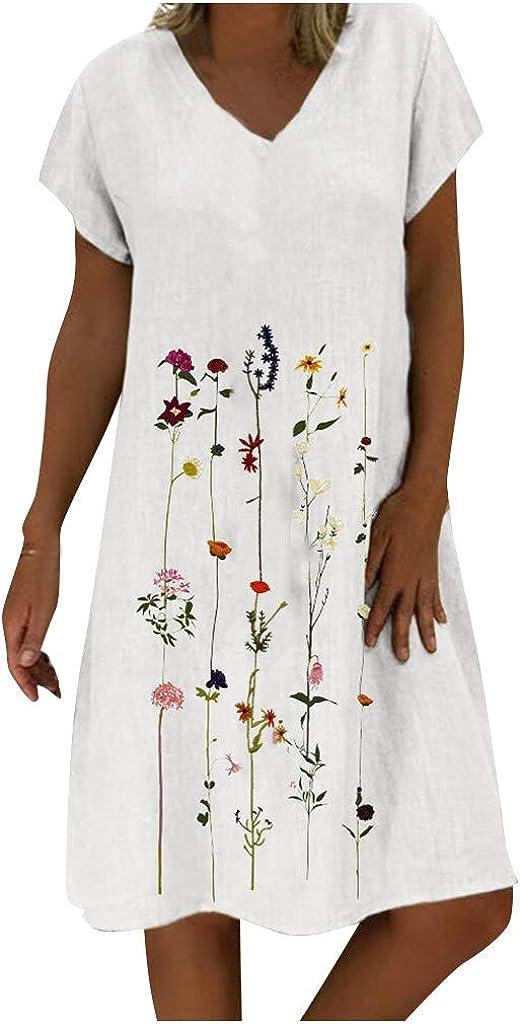 Jinjin2 Womens Linen Dresses Summer Beach Dress Comfort Short Sleeve Loose V Neck Oversize Holiday Dress