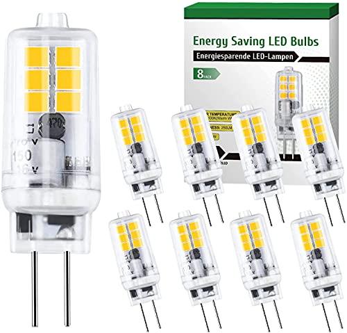 2W G4 LED Lampen Ersatz G4 12V 20W Halogen Leuchtmittel, 8er Pack 3000K G4 LED warmweiss Birne Kein Flackern Nicht Dimmbar LED Glühbirne 360° Abstrahlwinkel [Energieklasse A+]