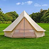 Outdoor Waterproof Luxury Glamping Bell Tents for Boutique Camping and Occasional Family Camping Trips and Festivals and Human shelter for inhabiting or Leisure (Beige Cotton Canvas, Dia. 3 Meters)