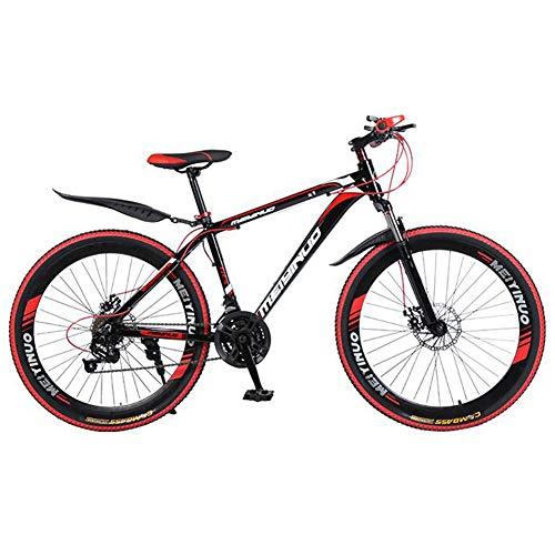 XHJZ 26 Pulgadas de Bicicletas de montaña, el PVC y el Agarre Todos los Pedales de Aluminio y Caucho, Marco de Acero de Alto Carbono y aleación de Aluminio, Doble Freno de Disco,Rojo,24 Speed
