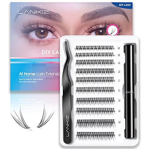LANKIZ Individual Lashes Kit, 12D DIY Eyelash Extension Kit for Beginners, 200 Pcs Individual Eyelashes, Cluster Lashes Glue, Lash Tweezers, 8-14mm Mix Faux Mink at Home Lash Extension Start Kit