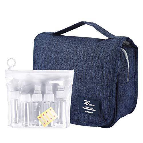UCEC Toiletry Bag with Transparent Travel Size Bottle Set, Travel Hanging Makeup Cosmetic Organiser Bag for Women Girls Kids, Navy Blue, 20x21cm