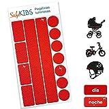Pegatinas luminosas SafeKIDS, ROJO, 13 unidades para cochecitos de bebé, bicicletas, cascos de ciclista y más