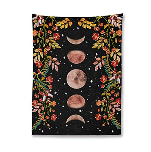 Moon Phase Tapestry Wall Hanging Psychedelic Flower Starry Sky Tapestries Black Boho Carpet Wall Cloth Bed Cover Room Decor