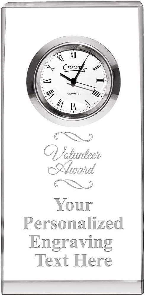 Crown supreme Awards Volunteer Award Crystal Trust Opti-Clock Engrav with Free