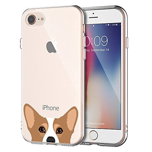 KarenDeals RED Shield Compatible with Apple iPhone 8/ iPhone 7 TPU Case, Corgi Slim & Flexible Anti-Shock Crystal Silicone Protective TPU Gel Skin Case Cover