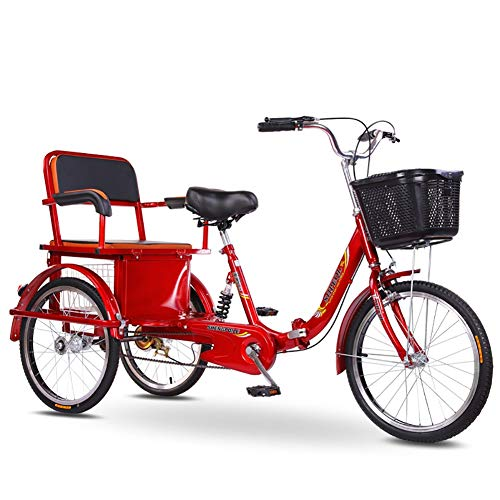 Triciclo Bicicleta de 3 Ruedas para Adultos con Asiento Trasero + Canasta ampliada Tres Rondas para Padres e Hijos Bicicleta de Doble Cadena con Motor Humano, Pedal de Scooter para Anciano