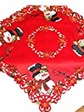Jamie's Arts Red Christmas Applique Big Cute Snowman & Embroidered Cardinal Table Topper 34x34 Inch / 85x85 cm