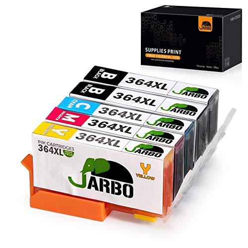 JARBO 364XL Kompatibel mit Druckerpatronen HP 364 XL Multipack für HP Photosmart 5510 5515 5520 5524 6510 6520 7510 7520 b110a HP OfficeJet 4620 4622 HP Deskjet 3070A 3520 (2Schwarz, Blau, Rot, Gelb)
