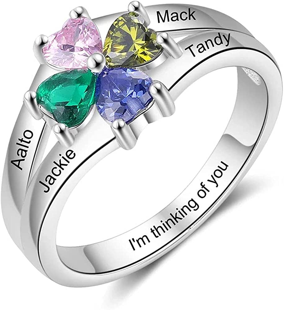 Personalized Mother Daughter Rings with 4 Simulated Birthstones Engraved 4 Names Family Promise Rings for Her Grandma