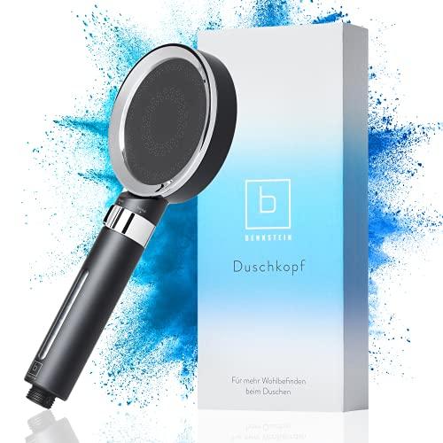 Benkstein® Duschkopf, Stylische Brause mit wechselbarem Filter, Wassersparend Handbrause Brausekopf Duschbrause Kopfbrause. Ohne Schlauch. Duschfilter Dusche (Schwarz)