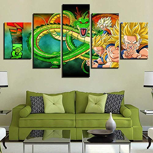 Impresiones en Lienzo 5 Piezas Anime Dragon Ball Z Goku Shenron Póster Sala de Estar Decoración Moderna para el hogar Arte de la Pared (sin Marco) Tamaño B- (Sin Marco) Tamaño A