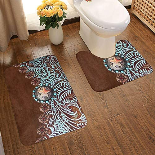 DPQZ Bathroom Rugs Sets 2 Piece Western Brown Teal Tooled Leather Vintage Non Slip Shower Bath Mats U-Shape Contour Toilet Rug Mat
