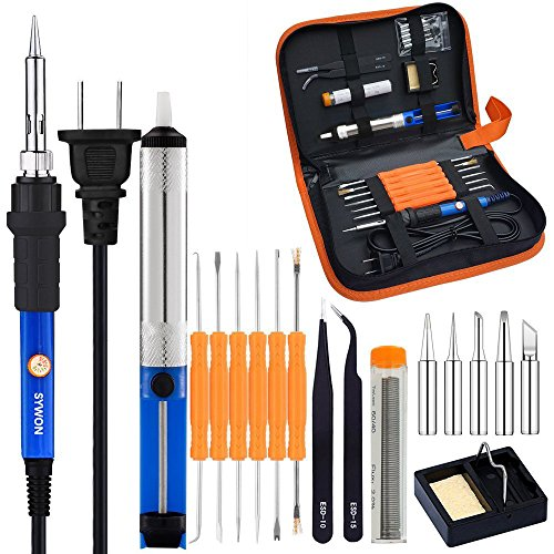 Sywon Full Set 60W 110V Electric Soldering Iron Kit with Adjustable Temperature Welding Iron, 5pcs Tips, Desoldering Pump, 2pcs Tweezers, Tin Wire Tube, Stand and 6pcs Aid Tools in PU Carry Bag