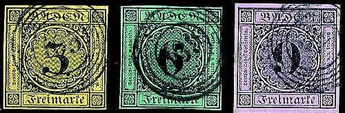 Goldhahn Baden Nr. 2a, 3a, 4a gestempelt Briefmarken für Sammler