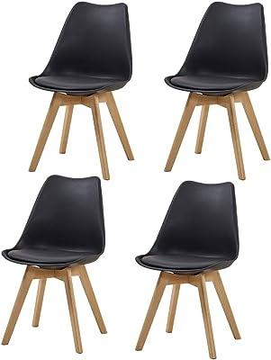 Amazon.com: Juego de 4 patas de madera maciza silla de ...
