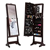 LANGRIA Mirror Jewelry Armoire Cabinet, Free Standing Jewelry Organizer with 10 LEDs, 5 Shelves, Additional Mirror Inside, Brown