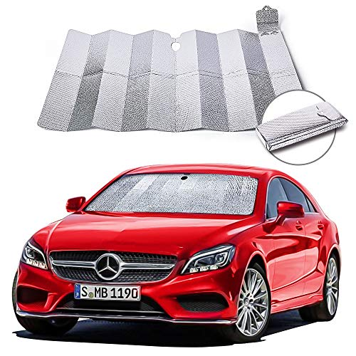 NIBESSER Auto Sonnenschutz für Frontscheibe, Aluminiumfolie Windschutzscheibe Sonnenblende Faltbare Einfache Lagerung, 150 * 90 cm für Mittelklassewagen