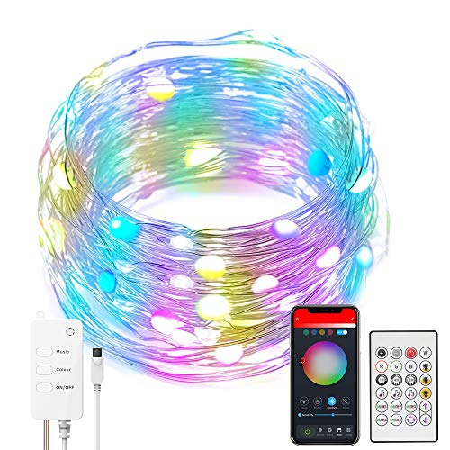 LED Fairy String Lights with Remote Control Timer 10m LED Multicoloured Firefly Lights USB Powered Changing Indoor Outdoor String Lights for Easter Christmas Wedding Party Garden Home Decoration(10M)