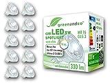 10 unidades de spots LED greenandco® IRC 90+ MR16 GU5.3 5W (corresponde a 30W) 330lm 3000K (blanco cálido) COB LED 38° 12V AC/DC